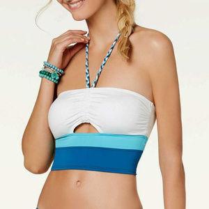 Vince Camuto Colorblocked Halter Crop Bikini Top